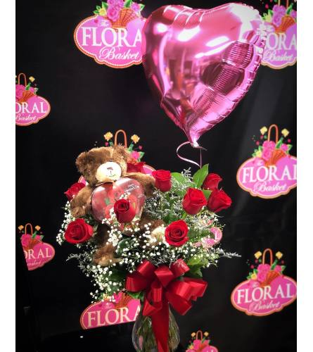 Bundle Bear Chocolate Balloon & Dozen Roses!