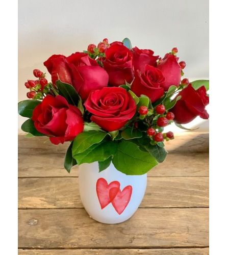 Roses in  Ceramic Dbl Heart Vase