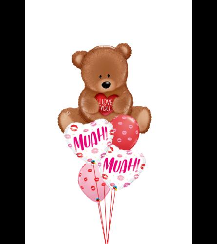 Bear Kisses Cheerful Balloon Bouquet