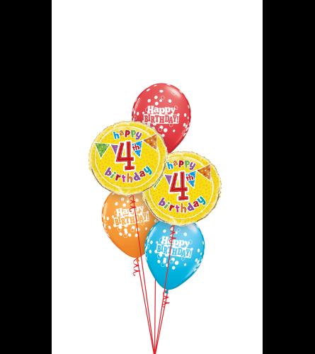 Happy 4th Birthday Classic Balloon Bouquet