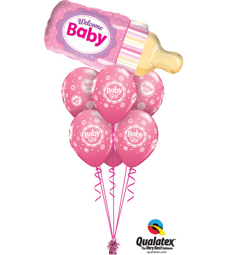 Welcome Baby Girl Bottle Awesome Balloon Bouquet