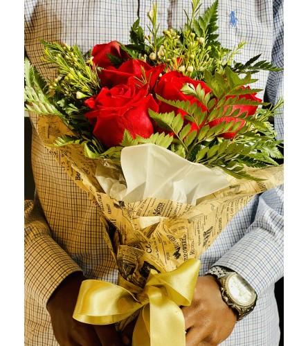 Half Dozen Wrapped Roses