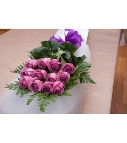 12 Purple Roses Boxed