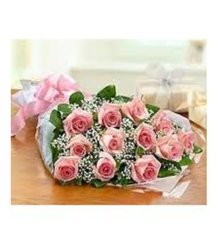 12 Pink Rose Wrapped