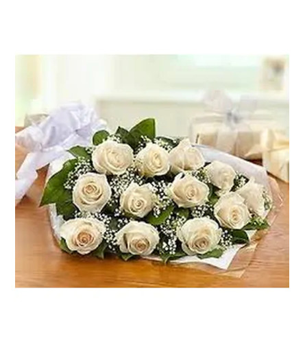 12 White Rose Wrapped