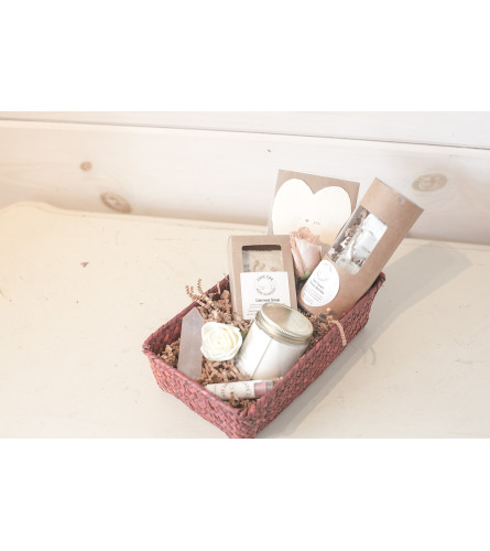 Valentine's day Local Basket with Small Vase arrangment