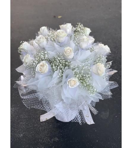 All white glitter rose