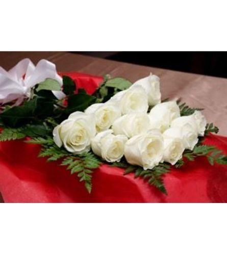 12 White Roses In Box