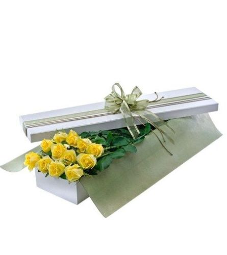 12 Yellow Rose Boxed