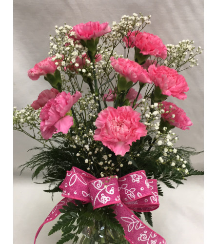 A Dozen Carnations Vased Arrangement