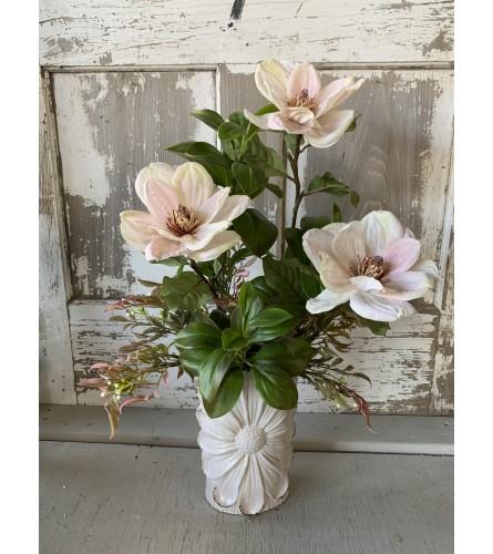 SILK Magnolias in Floral Vase
