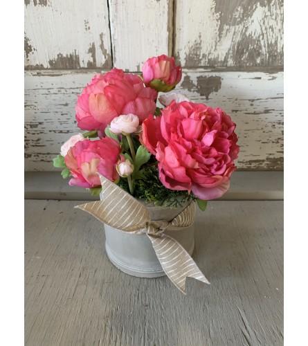 Spring Peony and Ranunculus Silk Arrangement