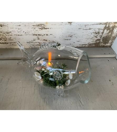 Seashell-Filled Glass Fish
