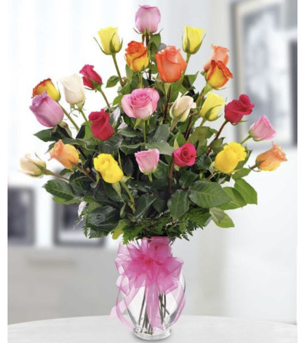 Awesome 24 mixed roses in a vase