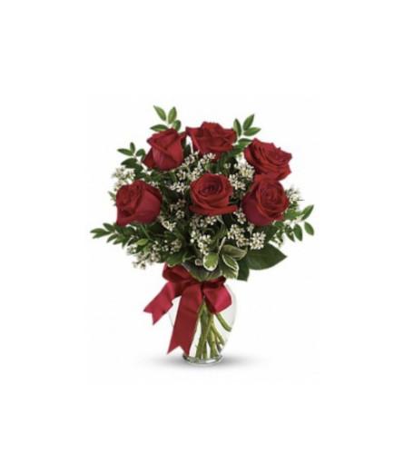 Loving you 6 red roses arrangement