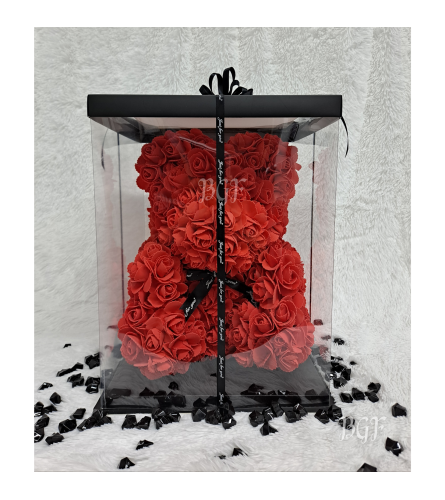 Red Rose Bear Glamour (Artificial Rose Petals)