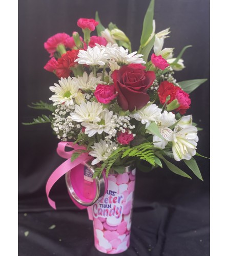 SWEETER THAN CANDY MUG WITH FLOWERS
