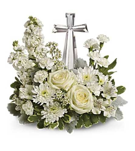 Teleflora Crystal Cross in White Arrangement