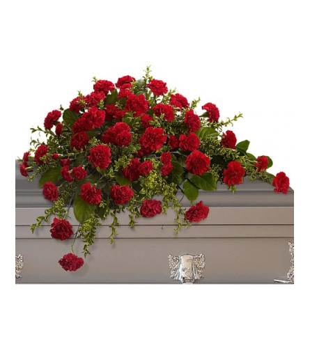All Red Carnation Casket Spray