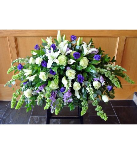 Purple and White Mixed Casket Cover