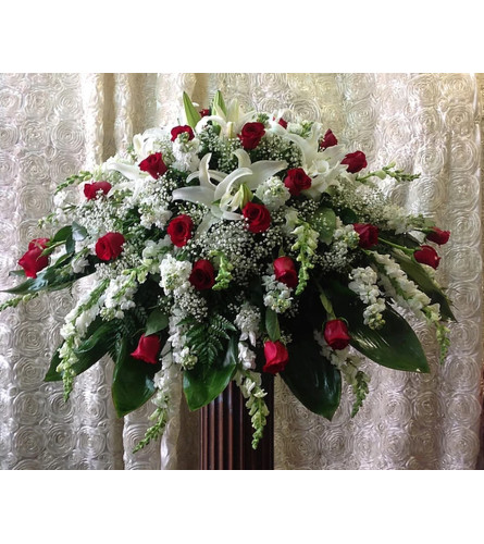 Red and White Mixed Casket Cover