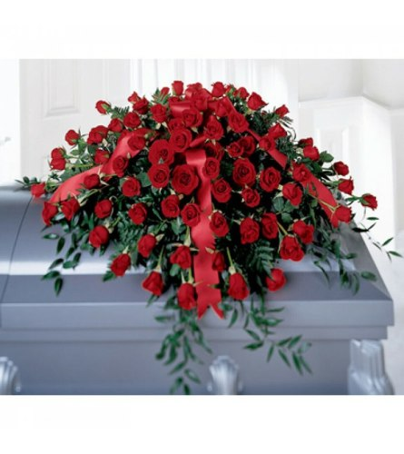 Deluxe All Red Rose Casket Cover