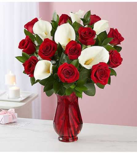 Red Rose & Calla Lily Bouquet for Valentine's Day