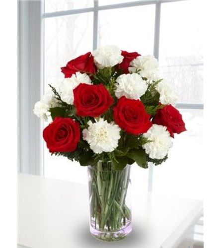 Roses and carnations white