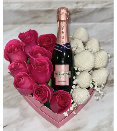 Pink Rose Box With Berries And Mini Bottle