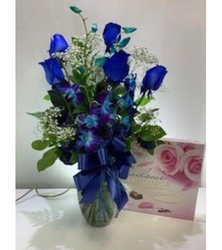 'Blue Without You' Rose Arrangement