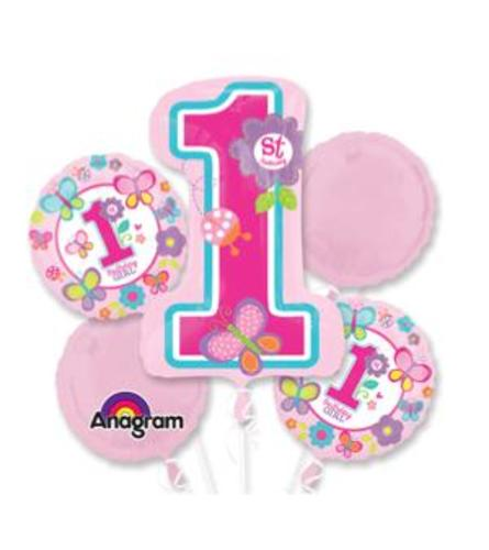 1st Birthday Girl Super Fun Foil Balloon Bouquet
