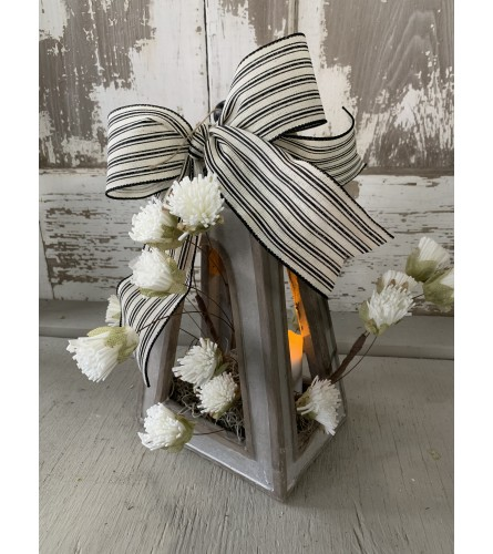 Concrete Lantern with Florals