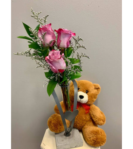 Three two-tone Purple Roses with Teddy Bear
