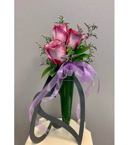 Three two-tone Purple Roses