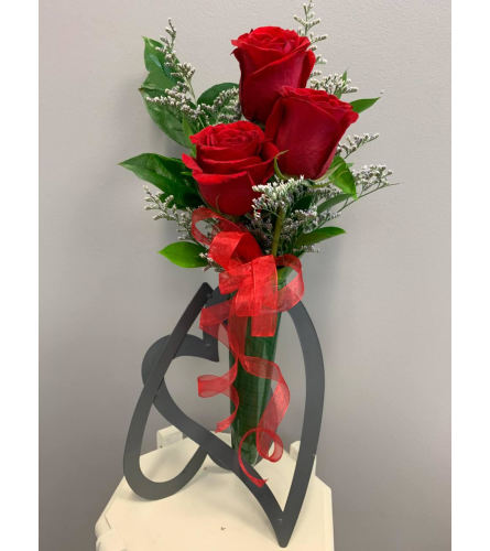 Three Red Roses with Heart Shaped Vase