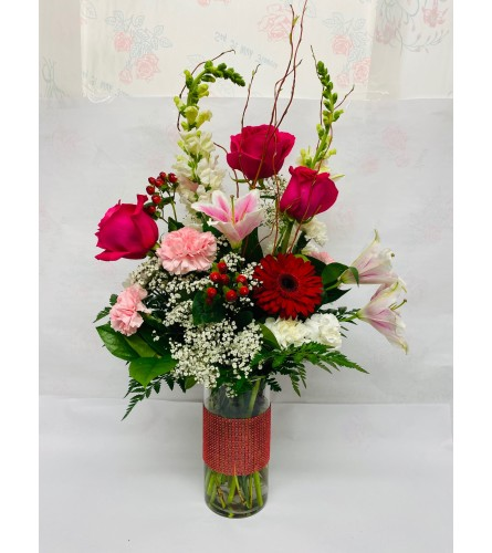 RayNa Valentine's Floral Vase