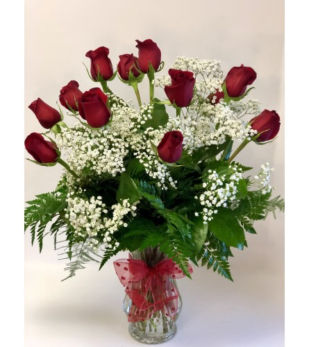 Twelve Romantic Red Roses with Babies Breath