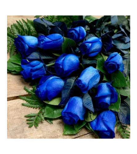 Dozen Blue Rose Wrapped in Cello