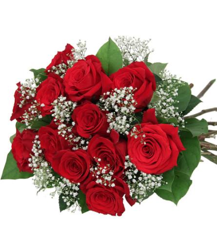 Prestige premium dozen hand-tied roses.