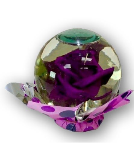 Pretty Purple Rose in Glass Orb