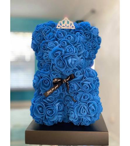 Forever Rose Teddy In Royal Blue