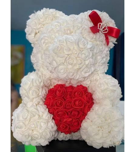 Forever Love Rose Teddy In White