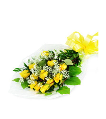 Long-Stemmed Yellow Roses Wrapped