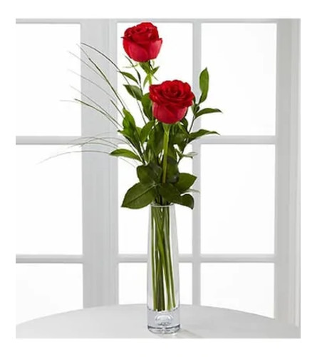 2 Red Roses Arranged in a Bud Vase