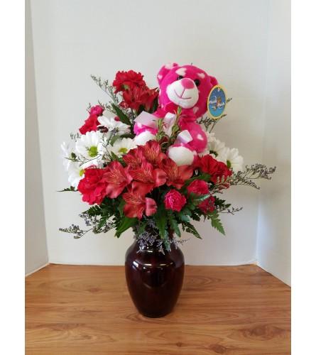 Cuddly Valentine Hugs Bear Bouquet