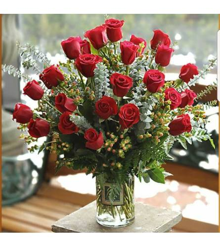 Two Dozen Red Roses Arranged in a Vase