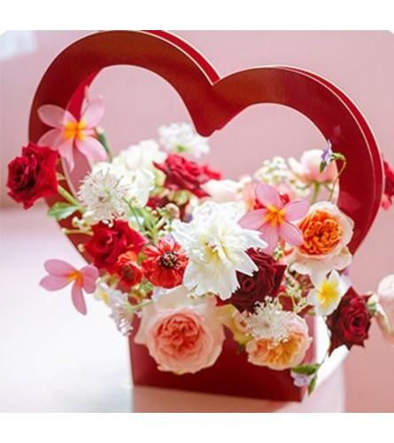 Red Heart Flower Box