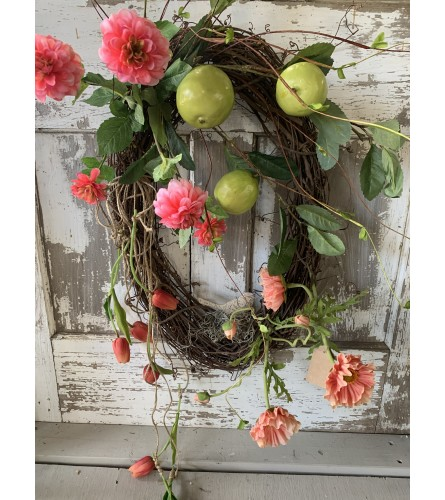 Quince & Pink Floral Oval Wreath