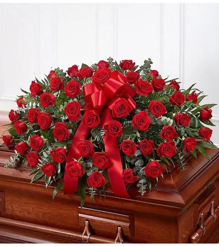 Eternal Red Rose Casket Spray