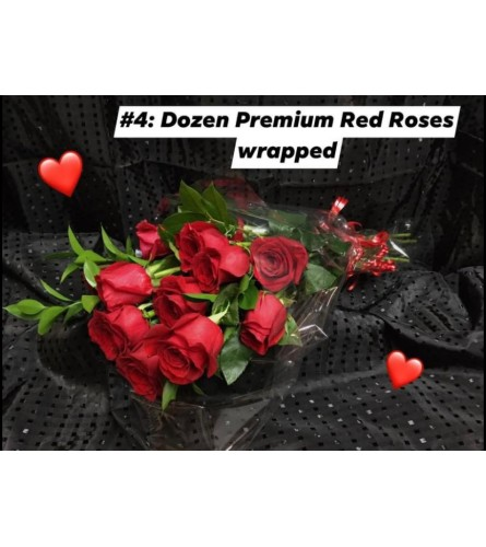 12 Red Roses in Cellophane#4